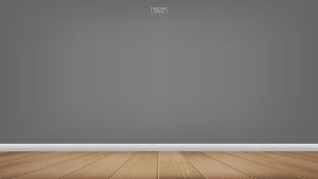 Illustration pour Empty room space background with wooden floor. Vector illustration. - image libre de droit