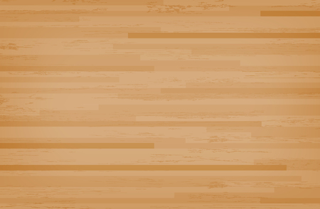 Hardwood maple basketball court floor viewed from above. Wooden floor pattern and texture. Vector illustration.
