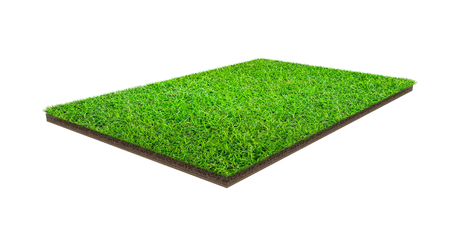 Photo pour Green grass field isolated on white with clipping path. Sports field. Summer team games. Exercise and recreation place. - image libre de droit