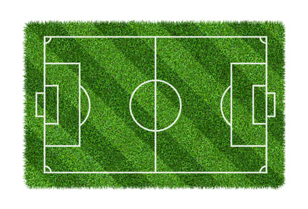 Foto de Football field or soccer field on green grass pattern texture isolated on white background with clipping path. - Imagen libre de derechos