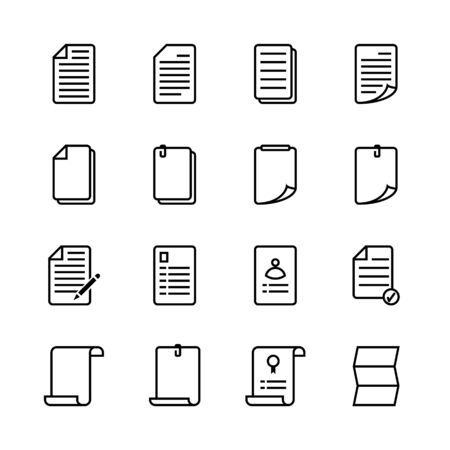 Illustration for Paper sheet icon set. Line icon style. Vector illustration. - Royalty Free Image