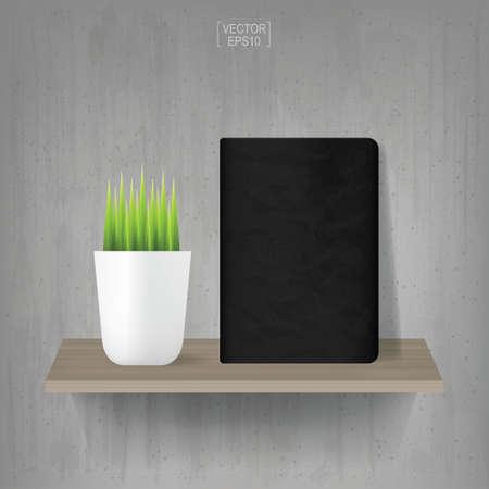 Illustration pour Black notebook on wooden shelf with vintage concrete wall background. Vector illustration. - image libre de droit