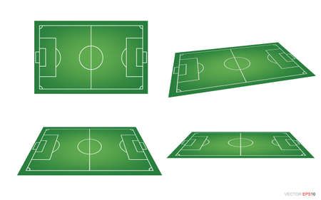 Illustration pour Soccer field or football field background isolated on white. Perspective elements. Vector green court for create soccer game. Vector illustration. - image libre de droit
