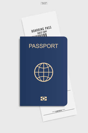 Illustration for Passport and boarding pass ticket on white background. Vector illustration. - Royalty Free Image