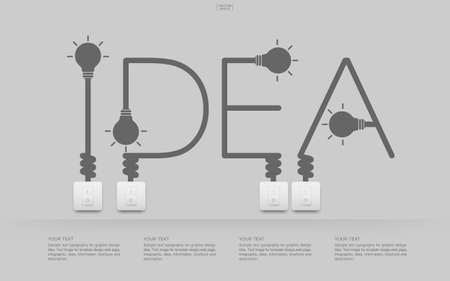 Illustration for Idea Abstract linear alphabet of light bulb and light switch on white background. Lamp and switch with area for infographic and text. Vector illustration. - Royalty Free Image