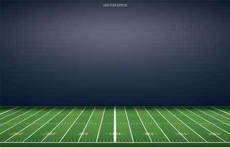 Illustration pour American football stadium background with perspective line pattern of grass field. Vector illustration. - image libre de droit