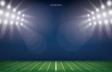 Illustration pour American football field stadium background. With perspective line pattern of american football field. Vector illustration. - image libre de droit