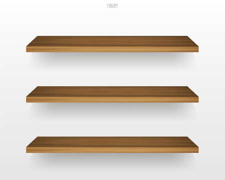 Illustration pour Empty wooden shelf on white background with soft shadow. Vector illustration. - image libre de droit