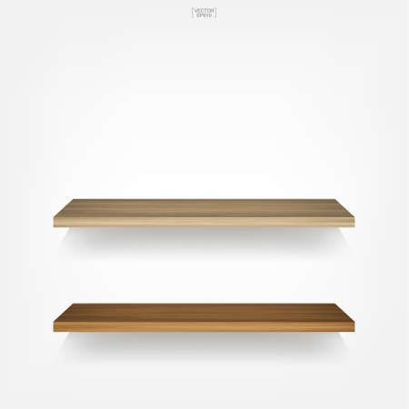 Illustration pour Empty wood shelf on white background with soft shadow. Vector illustration. - image libre de droit