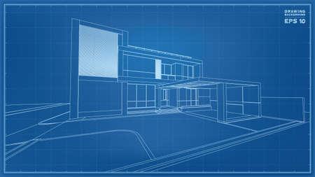 Photo pour Blueprint Perspective. 3D render of tropical house wireframe. Vector illustration of house construction idea. - image libre de droit