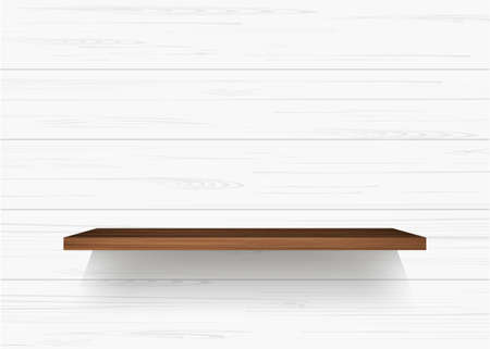 Illustration pour Wooden shelf on white wooden wall background with soft shadow. Vector illustration. - image libre de droit