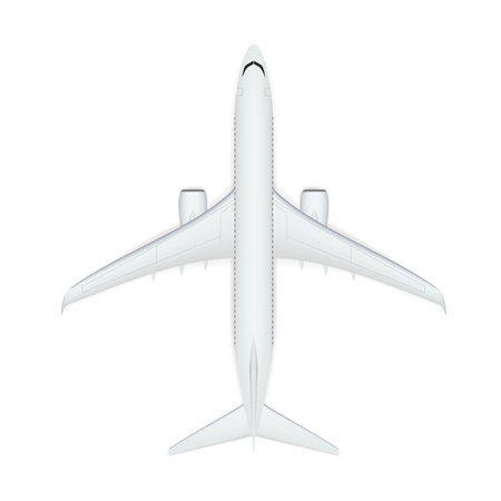 3D Abstract White Airplane Isolated  Vector: Royalty-free