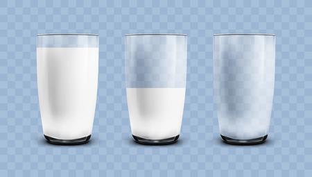Illustration pour Realistic Empty, Half And Full Of Milk Transparent Glasses. EPS10 Vector - image libre de droit