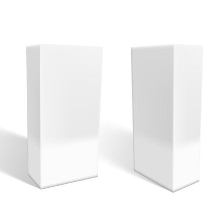 Illustration pour Set Of Small White Cardboard Boxes With Shadows. EPS10 Vector - image libre de droit