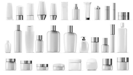 Illustration pour Blank Empty And Clean White Plastic Cosmetic Package Big Set - image libre de droit