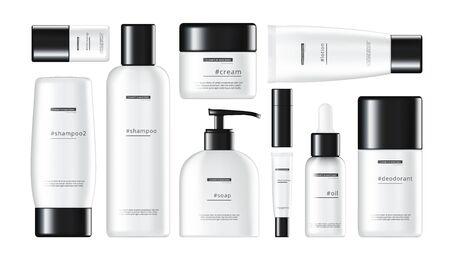 Illustration pour 3D Daily Beauty Care Cosmetic Product Shiny Plastic Packages Set - image libre de droit