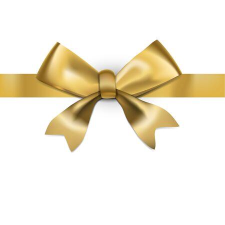 Illustration pour Decorative Golden Bow With Glossy Long Ribbon - image libre de droit