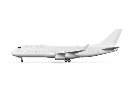 Illustration for Blank Big White Airplane Or Airliner Side View. EPS10 Vector - Royalty Free Image