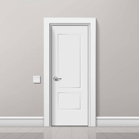 Illustration pour Realistic Modern White Door In Minimalist Bright Interior. EPS10 Vector - image libre de droit