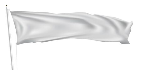 Illustration pour 3D Long White Flag On Flagpole Waving In Wind - image libre de droit