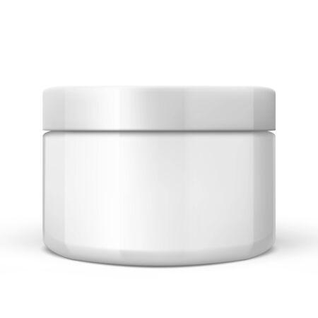 Illustration pour 3D White Glossy Plastic Jar With Lid. EPS10 Vector - image libre de droit