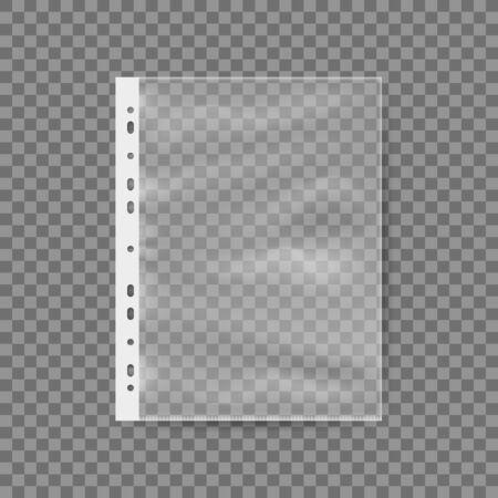Illustration pour Empty Plastic Bag For A4 Sheet. Punched Pocket Business File. EPS10 Vector - image libre de droit