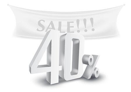 Illustration pour 40 Percent Off Silver 3D Sale Text Discount Template. - image libre de droit