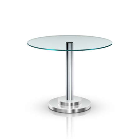 Illustration pour Empty Glass Round Office Table On Metal Leg - image libre de droit