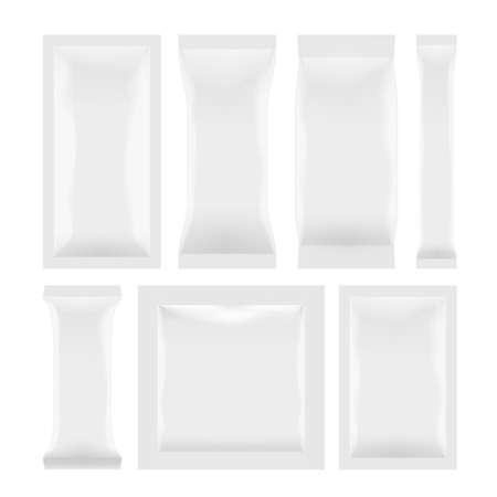 Illustration pour Various White Plastic Bag Package Set On White - image libre de droit