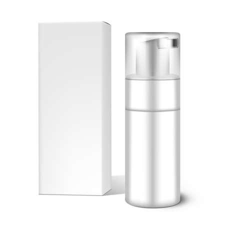 Illustration pour Cosmetics Bottle With Mousse And Cardboard Box - image libre de droit