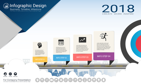 Ilustración de Business infographics template, Milestone timeline or Road map with Process flowchart 4 options, Strategic plan to define company values, Scheduling in project management to make facts and statistics. - Imagen libre de derechos