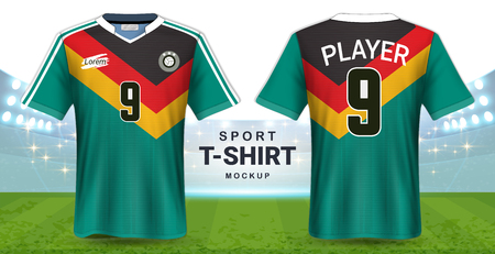 aa8305b50 Soccer Jersey and Sportswear T-Shirt Mockup Template, Realistic Graphic  Design Front and Back