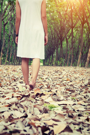 Foto für Sad woman walking alone in the forest feeling sad and lonely - Lizenzfreies Bild