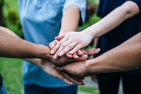Photo pour Close up team students teamwork stack hands together. Startup, Success concept. - image libre de droit