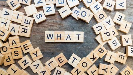 Foto de What word text on wood squaer block. concept of show key word - Imagen libre de derechos