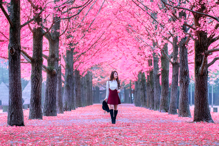 Photo pour Beautiful Girl with Pink Leaves in Nami Island, South Korea. - image libre de droit