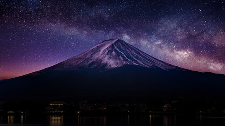 Photo for Fuji mountain with milky way at night. - Royalty Free Image