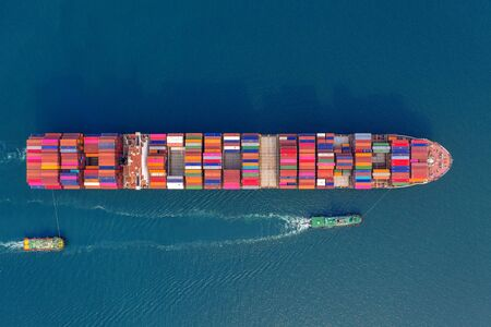 Photo for Aerial view of container cargo ship in sea. - Royalty Free Image