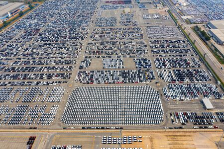 Photo for Aerial view of new cars at parking port in automobile factory. - Royalty Free Image