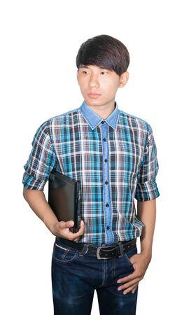 Photo pour businessman young hold Laptop computer on white background - image libre de droit