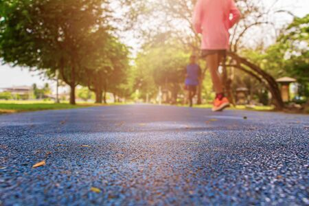 Photo for track run rubber cover blue in public park jogging exercise for health and blur people runner. select focus with shallow depth of field - Royalty Free Image