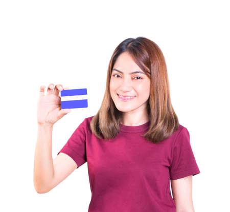 Photo pour woman holding credit card. closeup on white background - image libre de droit
