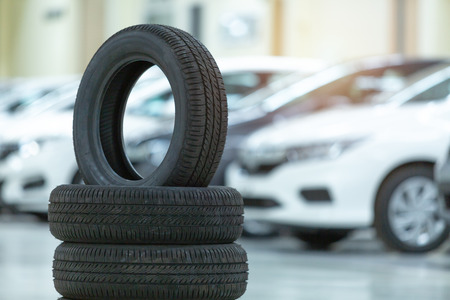 Photo for Spare tire car, Seasonal tire change, Car maintenance and service center. Vehicle tire repair and replacement equipment. - Royalty Free Image
