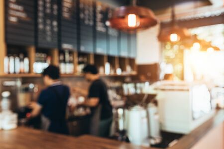 Blurred background made with Vintage Tones,Coffee shop blur background with Coffee Shop Bar Counter Cafe Restaurant Relaxation Concept.