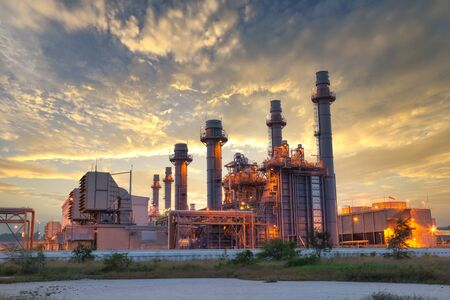 Photo for Power plant Energy power station area, Gas turbine electrical power plant during sunset and twilight time - Royalty Free Image