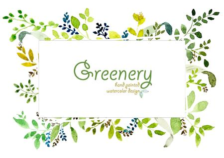 Illustration for Watercolor hand painted greenery design. vector design for invitation, wedding, save the date, poster, greeting card, text space frame. - Royalty Free Image