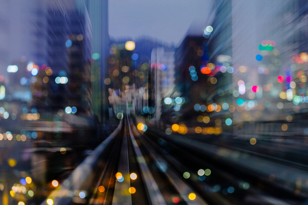 Photo for Night light blurred bokeh city building double exposure abstract background - Royalty Free Image