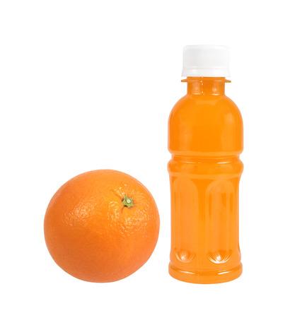 Orange fruit with Orange juice in a bottle isolated on white