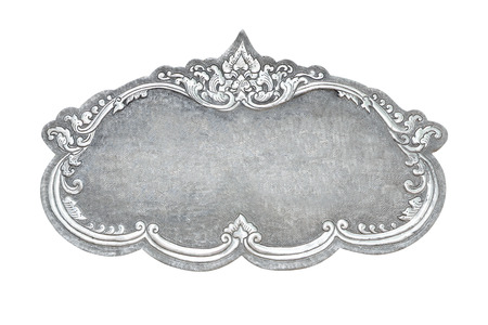 old decorative silver frame - handmade, engraved - isolated on white background