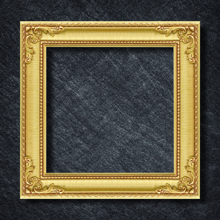 Photo for gold frame on Dark grey black slate background or texture. - Royalty Free Image